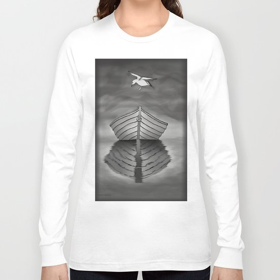Harbor Reflection - Seagull and Tender Long Sleeve T-shirt