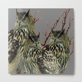 FOREST  WOODS OWL FAMILY GREY ART DESIGN  ART Metal Print