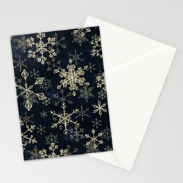 Snowflake Crystals in Gold Stationery Cards
