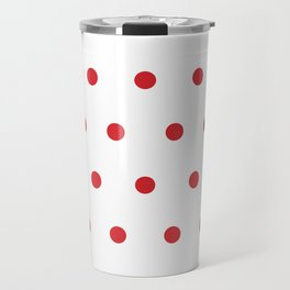 Small Red Dots on White Travel Mug