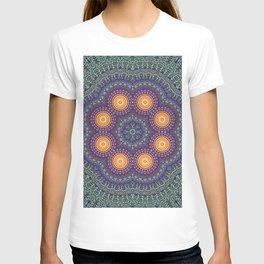 8 Suns Circular Bohemian Geometric Thread Weave Pattern \\ Yellow Green Blue Purple Color Scheme T-shirt