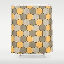 Honeycombs op art beige Shower Curtain