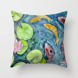 Pond with koi fish and waterlily Throw Pillow