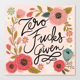 Pretty Swe*ry: Zero Fucks Given, in Pink Canvas Print