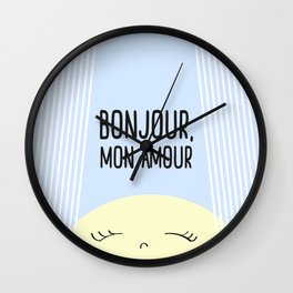 Bonjour Mon Amour #childrensroom #baby #babyshower #illustration #gift #home #decor #sun #pastel #de Wall Clock