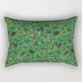 Bugs & Insects on Green Floral Background Rectangular Pillow