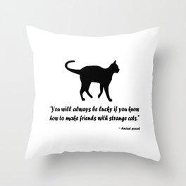 Ancient Cat Proverb Throw Pillow