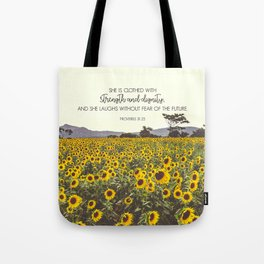 Proverbs and Sunflowers Tote Bag