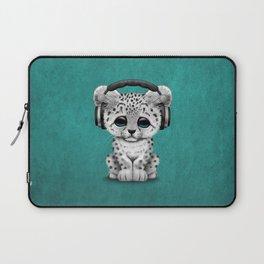 Cute Snow leopard Cub Dj Wearing Headphones on Blue Laptop Sleeve
