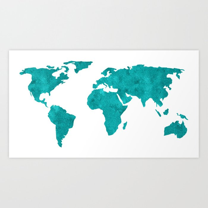 Turquoise metallic foil world map art print by mapmaker society6 turquoise metallic foil world map art print sciox Images