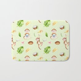 Cute pink brown watercolor hand painted monkey floral pattern Bath Mat