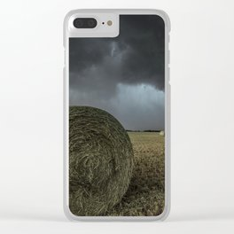 Fade Away - Round Hay Bales in Storm in Oklahoma Clear iPhone Case
