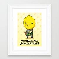 lemongrab Framed Art Prints featuring Yay Monday, Lemongrab by fablefire