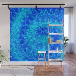 delicate elegant abstract blue shapes print design Wall Mural