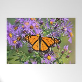 Monarch Butterfly on Wild Aster Flower Welcome Mat