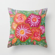 Orange Fantasy Flowers Throw Pillow