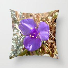 Watercolor Flower, Purple Spiderwort 01, Boulder, Colorado, Dainty Forest Blooms Throw Pillow
