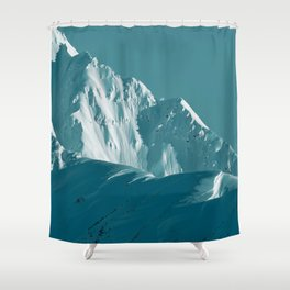 Alaskan Mts. I, Bathed in Teal Shower Curtain