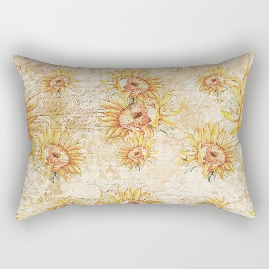 Vintage Sunflowers #5 Rectangular Pillow