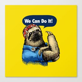 We Can Do It Sloth Canvas Print