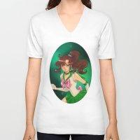 sailor jupiter V-neck T-shirts featuring Sailor jupiter by Tae V