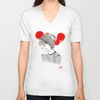 lanterns V-neck T-shirts featuring MASK + LANTERNS by lantomo