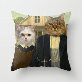 "American ""Cat""thic Throw Pillow"