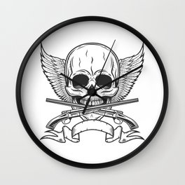 Vintage skull with wings, ribbon and crossed sawn-off shotgun monochrome print illustration Wall Clock