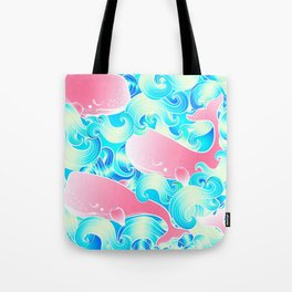 Pink Whales Pattern Tote Bag