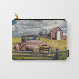 Pickup Truck behind wooden fence in a Rural Landscape Carry-All Pouch