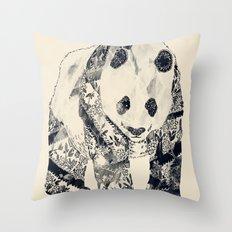 Tattooed Panda {cream} Throw Pillow