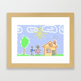 child's drawing with happy family Framed Art Print