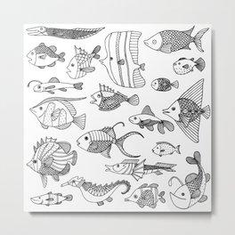 Arrangement of doodle fish Metal Print