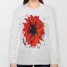 Orange Sunflower & Teal Contemporary Abstract Long Sleeve T-shirt
