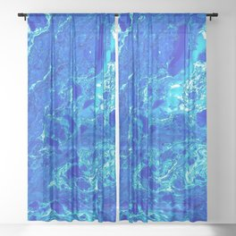 AN ABSTRACT PATTERN IN THE BLUE WATER SURFACE Sheer Curtain