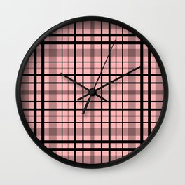 Pink black plaid #pink #plaid Wall Clock