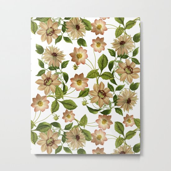 Floral retro vintage pattern pastel colored Metal Print