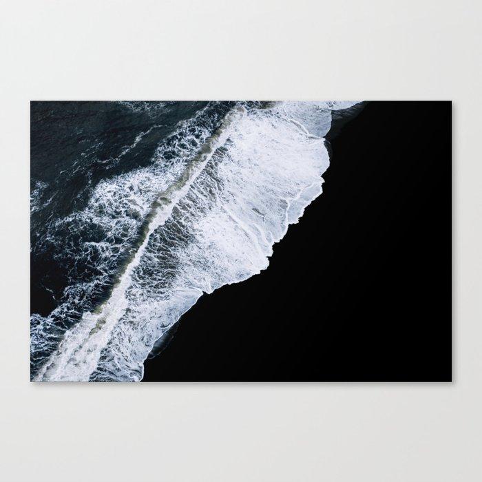 Waves crashing on a black sand beach – minimalist Landscape Photography Canvas Print