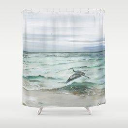 Anna Maria Island Florida Seascape with Heron Shower Curtain