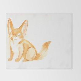 Watercolor Fennec Fox Kit Throw Blanket