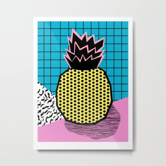 Grindage - pineapple fruit tropical pattern memphis style art print bright neon 1980 1980's 80's 80s Metal Print