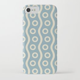 Mid Century Modern Rising Bubbles Pattern 2 Blue and Cream iPhone Case