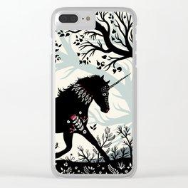 Folk Unicorn Clear iPhone Case