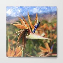 Crane Flower | Watercolor Metal Print