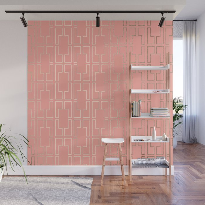Simply Mid-Century in White Gold Sands on Salmon Pink Wall Mural
