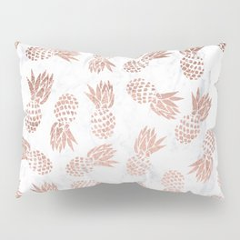 Modern faux rose gold pineapples white marble pattern Pillow Sham