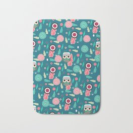 Owls and flowers in blue Bath Mat