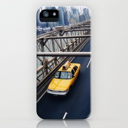 New York Cab with Twin Towers in background over Brooklyn Bridge iPhone Case