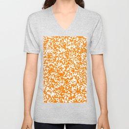 Small Spots - White and Orange Unisex V-Neck