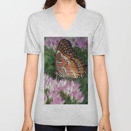 Flowered Butterfly Unisex V-Neck